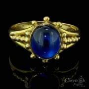 Fabulous 18ct Gold And Blue Paste Single Stone Ring