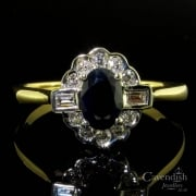 Fabulous 18ct Gold Sapphire And Diamond Cluster Ring