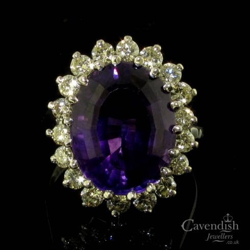 Fabulous 18ct White Gold Amethyst and Diamond Cluster Ring