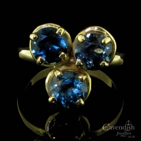 Fabulous 9ct Gold And Blue Topaz Trefoil Design Ring