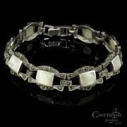 Fabulous silver, marcasite and mother of pearl bracelet