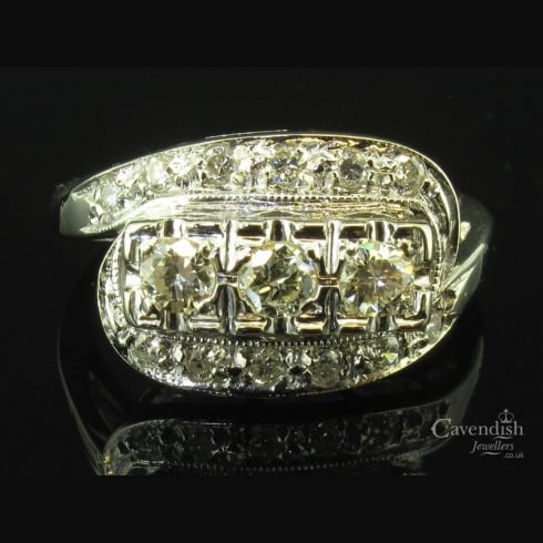 Fabulous White Gold & Diamond Trilogy Crossover Ring Circa 1930