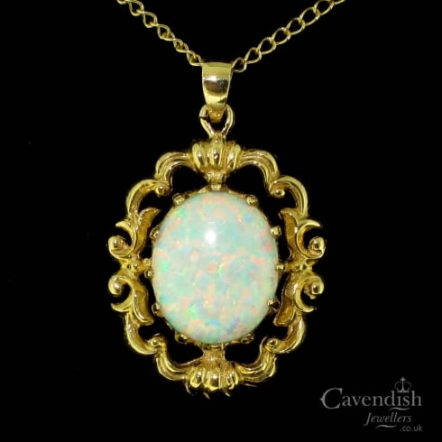 Fancy 9ct Gold Synthetic Opal Pendant