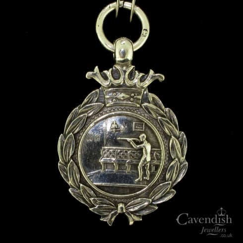 Fantastic Sterling Silver Edwardian Period Shooting Fob Medal