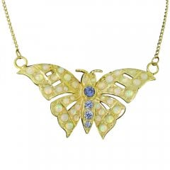 Faux Opal and Synthetic Tanzanite Butterfly Pendant