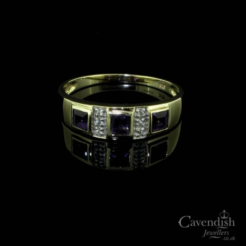 Fine 9ct Amethyst Diamond Set Ring
