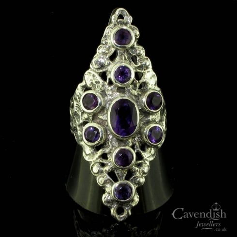 Flamboyant Silver And Amethyst Marquise Shaped Dress Ring