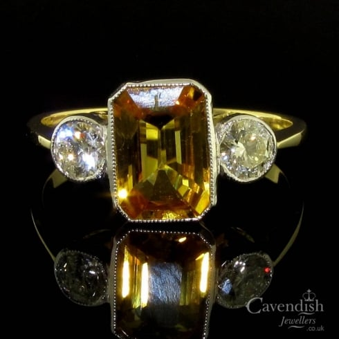 Glamorous Yellow Sapphire And Diamond Trilogy Ring