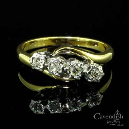 Glistening 18ct Gold And Diamond 4 Stone Twist Ring