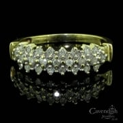 Glistening Yellow Gold And Diamond 3 Row Half Hoop Ring