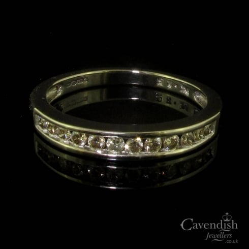 Glittering 9ct White Gold Diamond Half Hoop Eternity Ring