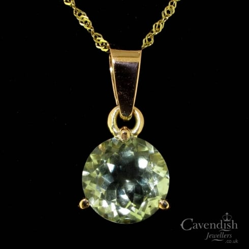Glorious 9ct gold green amethyst pendant from cavendish jewellers glorious 9ct gold green amethyst pendant aloadofball Images