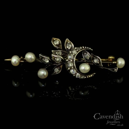 Glorious Diamond & Seed Pearl Floral & Crescent Design Brooch