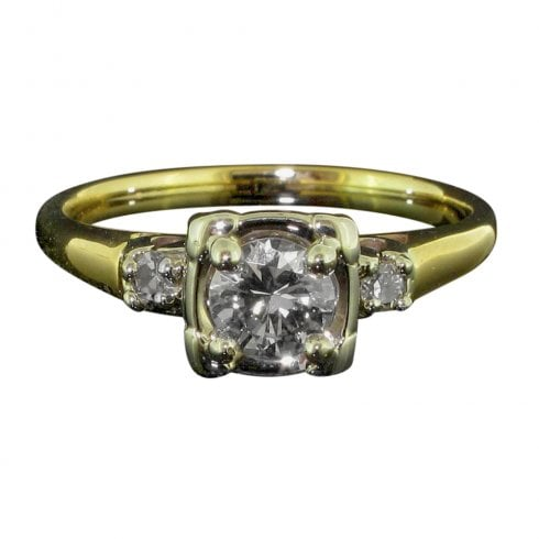 Gold And Diamond Art Deco Solitaire Ring