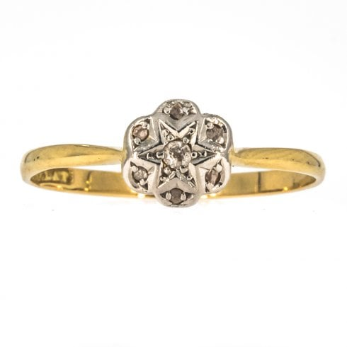 Gold And Platinum Set Diamond Cluster Ring
