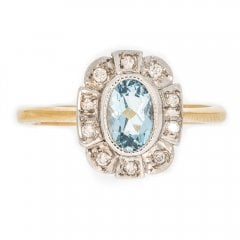 Gold Aquamarine And Diamond Cluster Ring