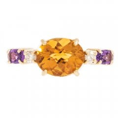 Gold Citrine, Amethyst & Diamond Ring