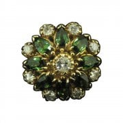 Gold Green Tourmaline and Diamond Cocktail Ring