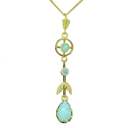 Gold on Silver Faux Opal and Cubic Zirconia Drop Pendant
