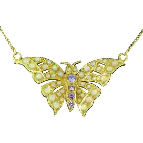 Gold on Silver Faux Opal and Synth. Amethyst Butterfly Pendant