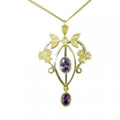 Gold on Silver Faux Opal and Synthetic Amethyst Pendant