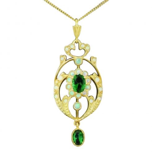 Gold on Silver Faux Opal and Synthetic Emerald Necklace