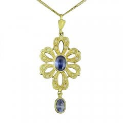 Gold on Silver Faux Opal and Synthetic Tanzanite Necklace