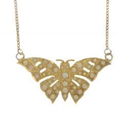 Gold on Silver Faux Opal Butterfly Pendant And Chain