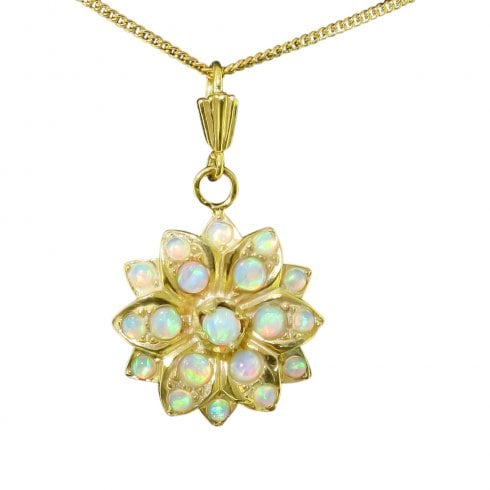 Gold on Silver Faux Opal Floral Star Pendant
