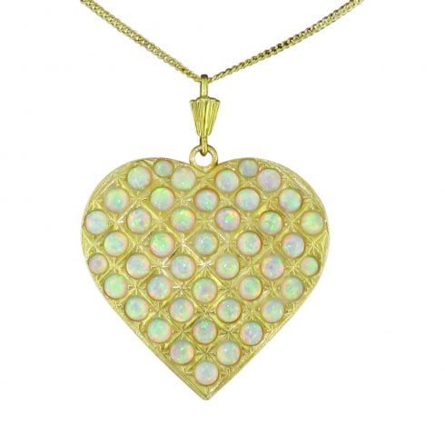 Gold on Silver Faux Opal Heart Pendant And Chain