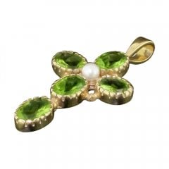 Gold Peridot And Seed Pearl Cross