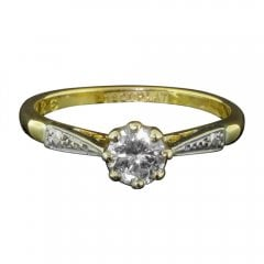 Gold Platinum And Diamond Solitaire Ring