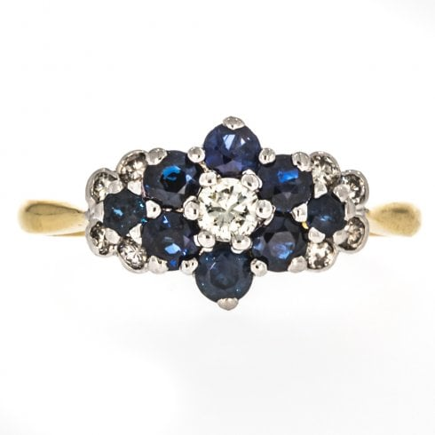Gold Sapphire & Diamond Cluster Ring