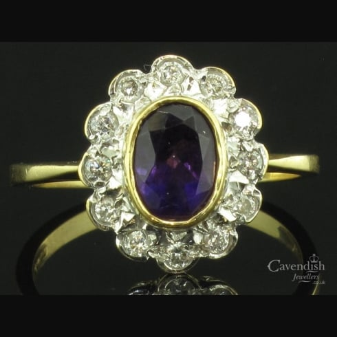 Gorgeous 18ct Amethyst And Diamond Cluster Ring