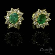 Gorgeous 18ct Gold Emerald and Diamond Cluster Earrings