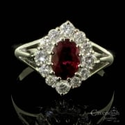 Gorgeous 18ct White Gold, Ruby And Diamond Cluster Ring