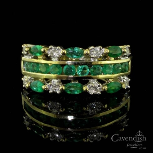 Gorgeous 9ct Gold, Emerald And Diamond Fancy Half Hoop Ring