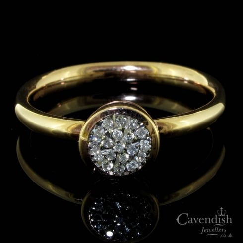 Gorgeous 9ct Rose Gold Diamond Cluster Ring
