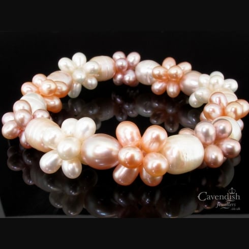 Gorgeous Peach, Pink & White Cultured Pearl Bracelet