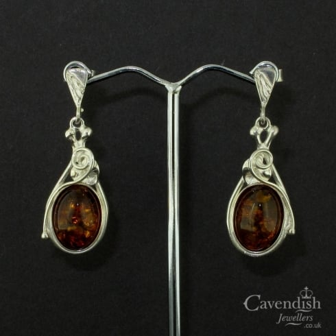 Gorgeous Silver And Amber Drop Earrings