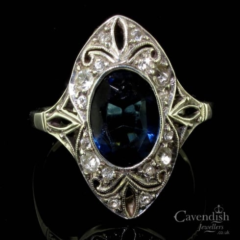 Gorgeous Silver, Blue And White Paste Art Deco Period Ring