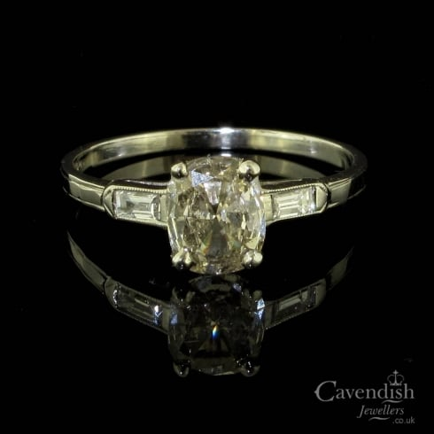Graceful Platinum And Cushion Cut Diamond Deco Solitaire Ring