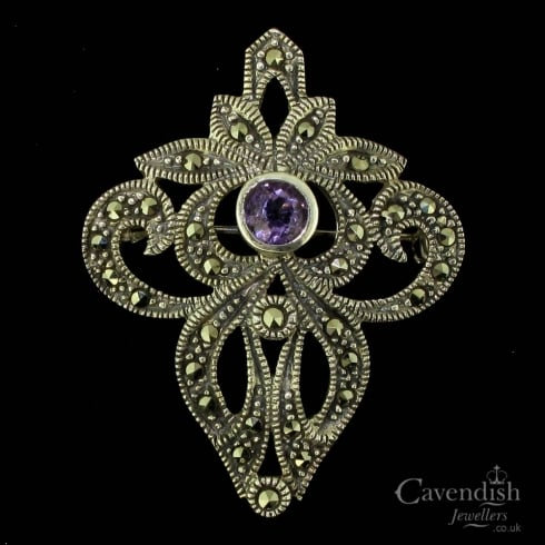 Graceful Silver, Marcasite And Amethyst Brooch