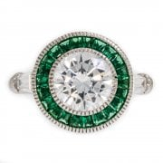 Green And White Cubic Zirconia Cluster Ring