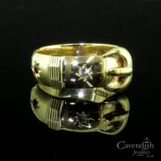 Handsome 9ct Gold Garnet Buckle Ring
