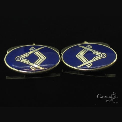Handsome Masonis Enamel Cufflinks