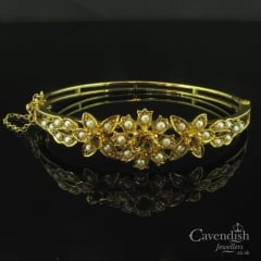 Heavenly Yellow Gold, Citrine & Pearl Flower Bangle