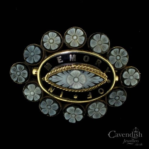 Impeccable Banded Onyx And Enamel Floral Detail Mourning Brooch