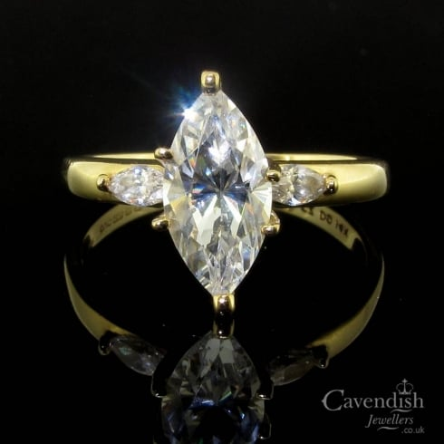 Impressive 14ct Gold Marquise Cut Cubic Zirconia Ring