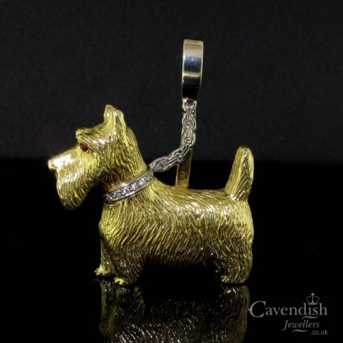 Impressive 18ct Gold Scottie Dog Brooch Pendant